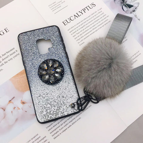 Gradient Shining Phone Case for Samsung with Phone Holder and Pom-pom gallery 10