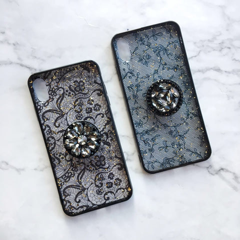 Transparent Gold Foil Floral iPhone Case with Phone Holder