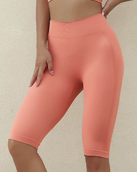 Letter Print Space Dye Seamless High Waist Sports Shorts gallery 8