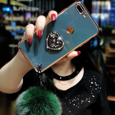 Electroplate Heart Rhinestone Phone Case for Samsung with Phone Holder and Pom-pom gallery 4