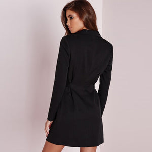 2 Solid Colors O-Ring Detail Tied Waist Blazer Dress