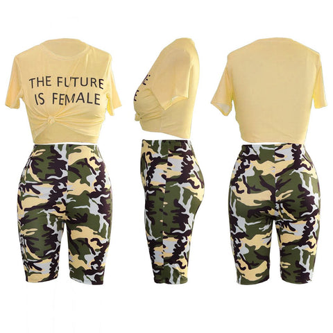 Camo Letter Print Knot Front Top & Short Set gallery 8