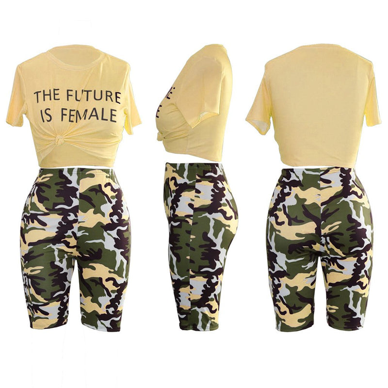 Camo Letter Print Knot Front Top & Short Set