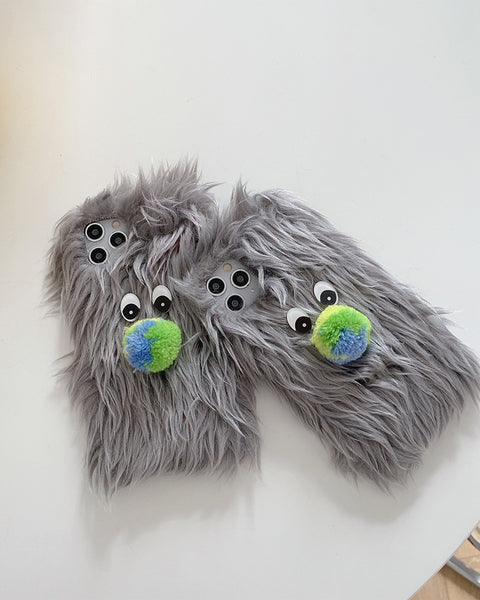 Cute Monster-Shaped Fluffy iPhone Case
