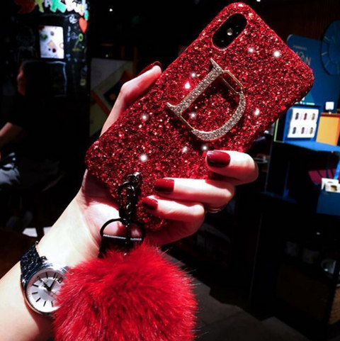Glittering Letter Engraved iPhone Case with Hand Strap and Pom-pom