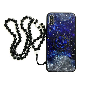 Blinking Gold Foil Shell Pattern Phone Case for Samsung with Phone Holder and Hand Strap