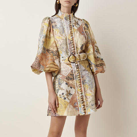 Retro Abstract Print Belted Ballon Sleeves Buttons Decoration Turtleneck Dress