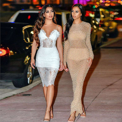 Sexy V-neck Lace See Through Midi Dress gallery 5