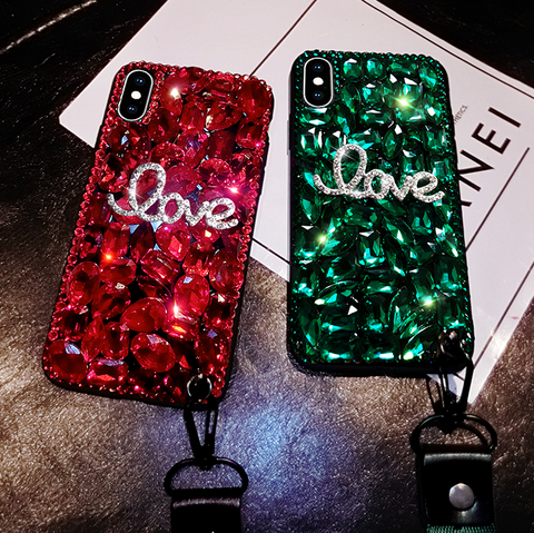 Letter Rhinestone Phone Case for Samsung with Wrist Strap gallery 6