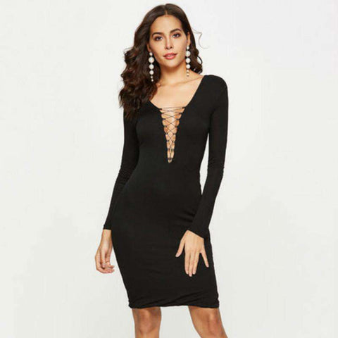 Sexy V-Tie Long-Sleeved Slim-Down Knitted Buttock Dress