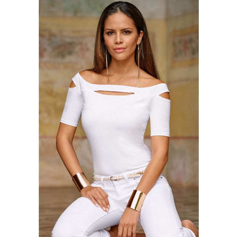 Off Shoulder Cut Out Detail Short Sleeve T-Shirt
