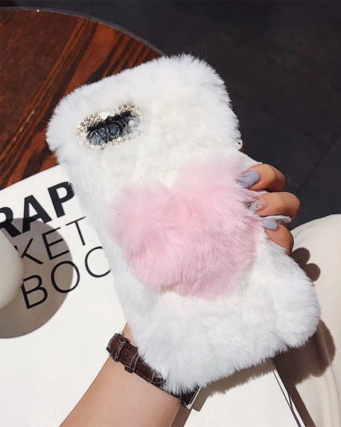 Fancy Fluffy Contrast Color Heart iPhone Case
