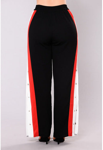 Rivet Side Split Straight Pants