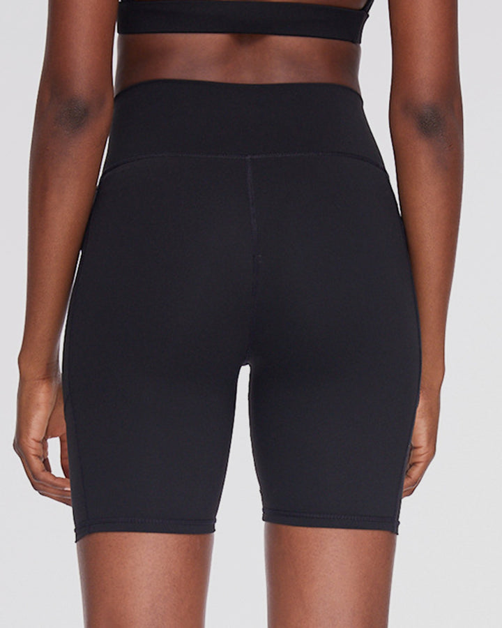 Solid Contrast Mesh High Waist Sports Shorts gallery 3