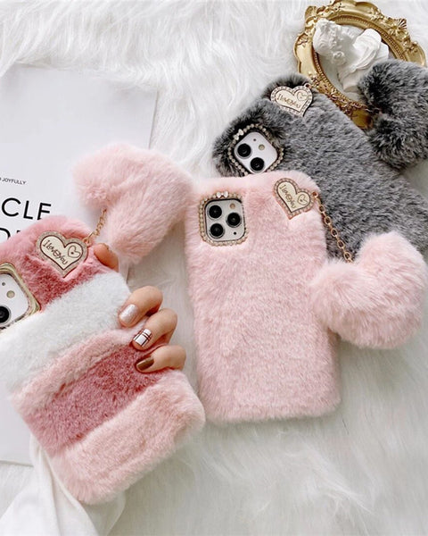 Chic Letter & Heart Decorated Fluffy iPhone Case with Pom-pom