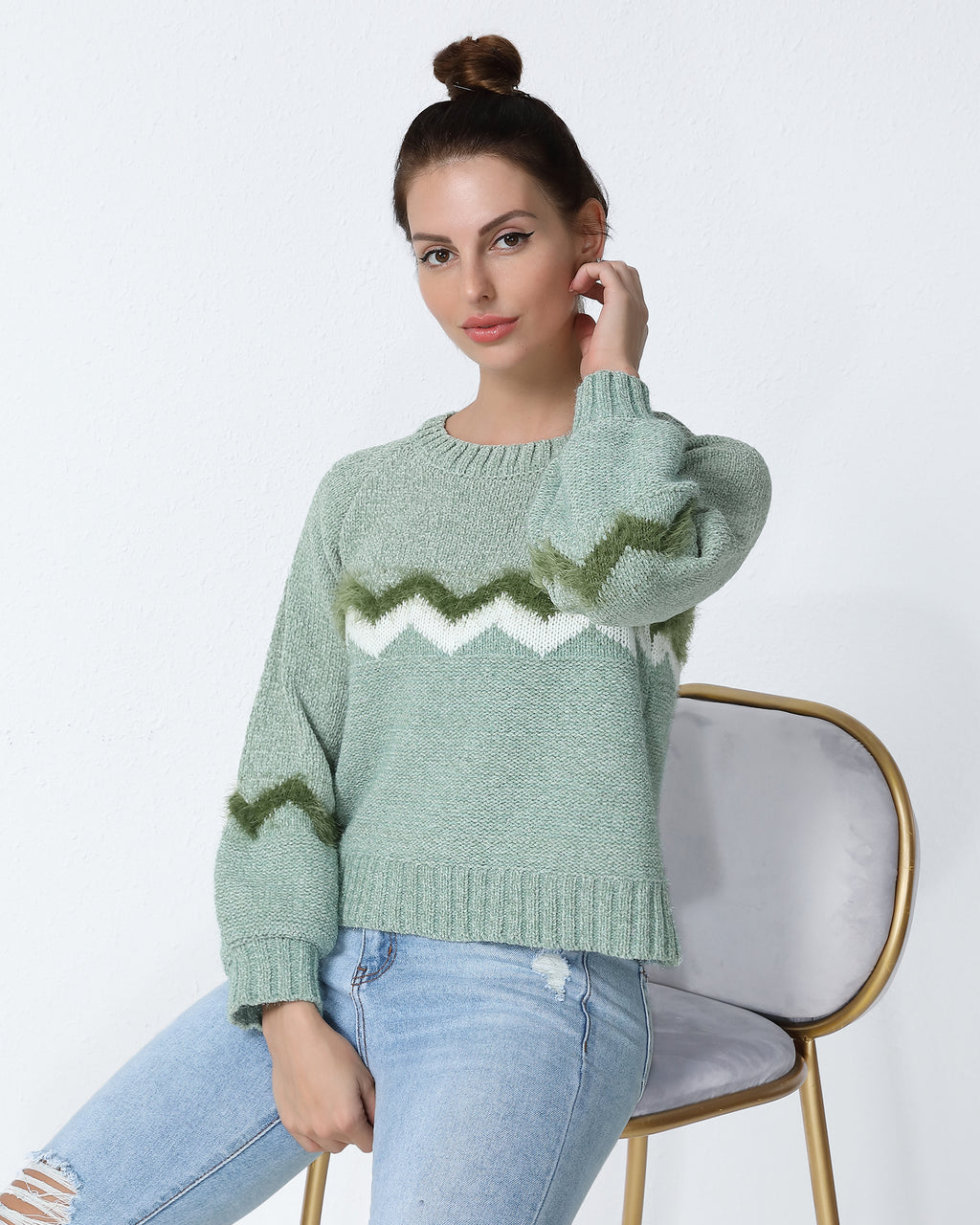 Cut And Sew Fluffy Knit Sweater
