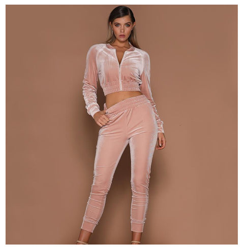 Velvet Zippered Elastic Waist Top & Pant Set