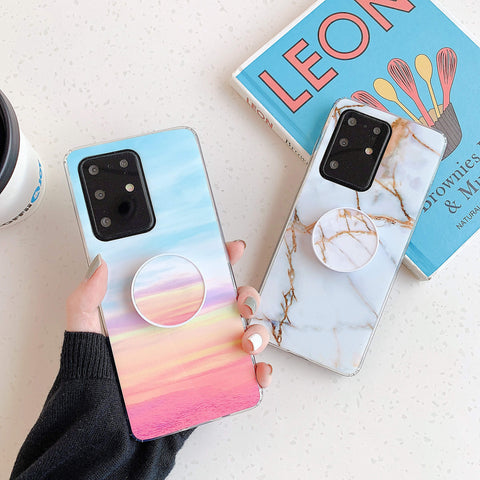 Smooth Marble Crack Detail Phone Case with Phone Holder gallery 3