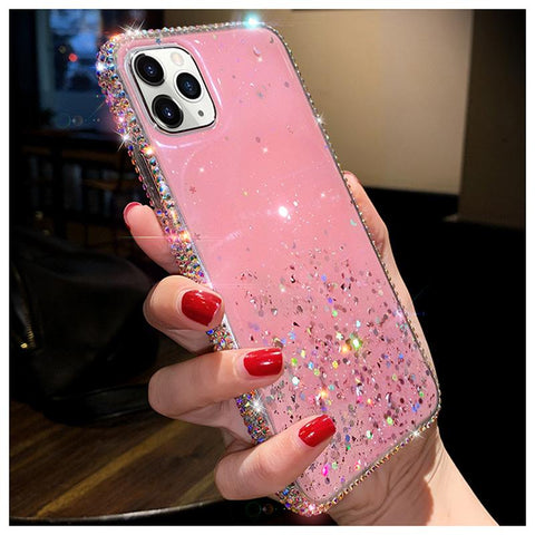 Clear Flowing Glitter Rhinestone Deco Phone Case for Samsung gallery 8