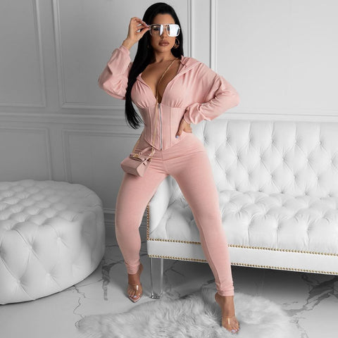 Corset Plunge Zippered Front Hooded Top & Pants Set gallery 5