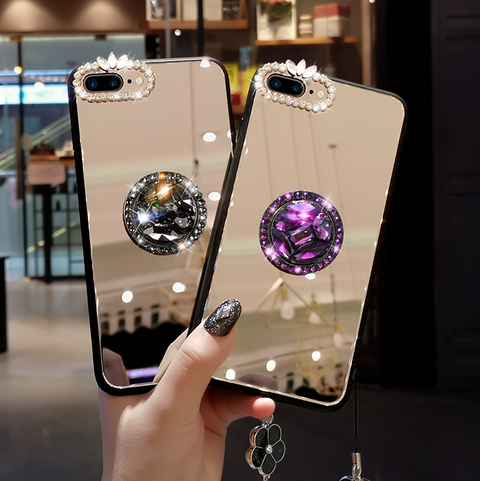 Mirror Rhinestone Side Phone Case for Samsung with Phone Holder gallery 1