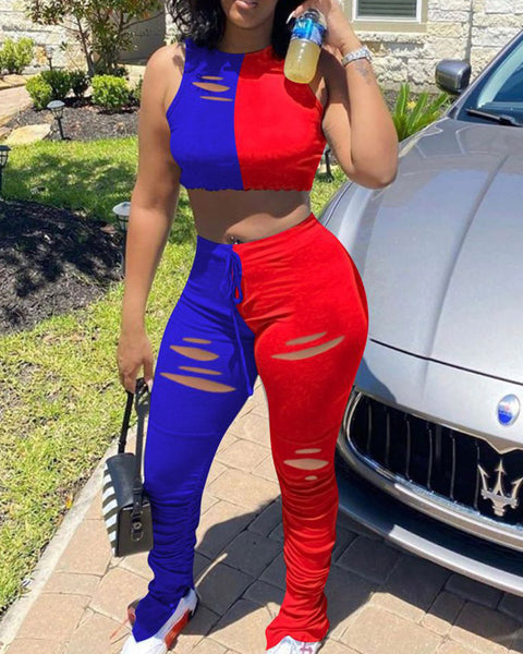 Two Tone Ripped Split Hem Top & Stacked Pants Set gallery 1