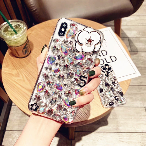 Camellia Full Rhinestone Cover Phone Case for Samsung gallery 6