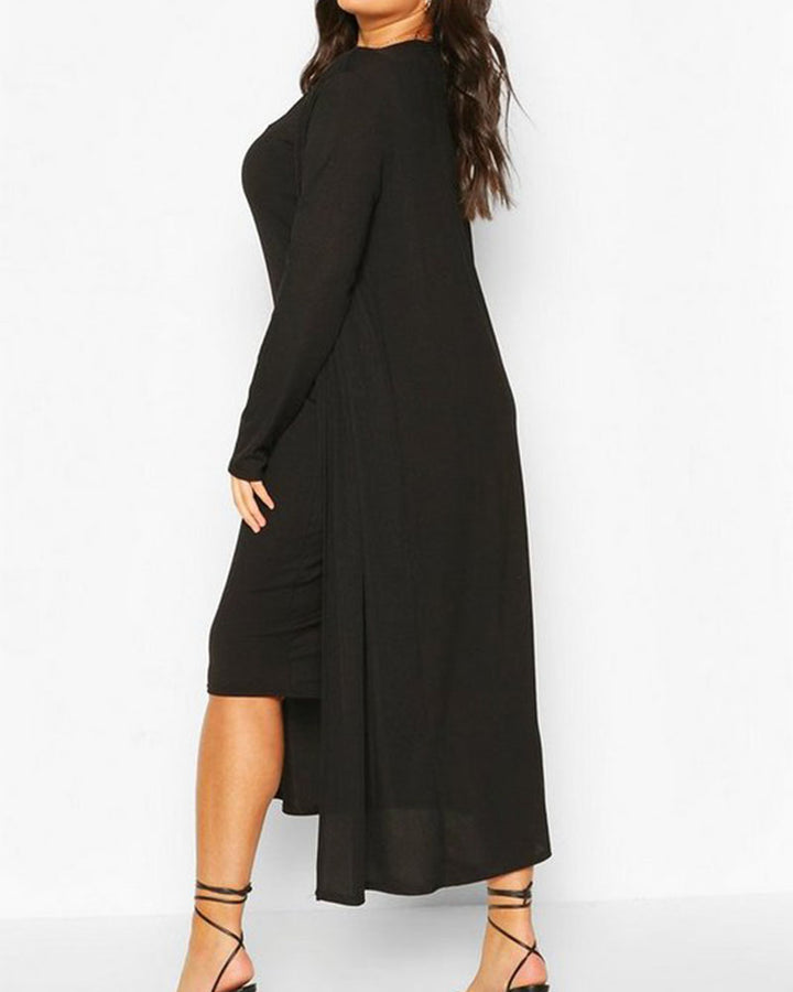 Solid Square Neck Dress & Cardigan Set gallery 9