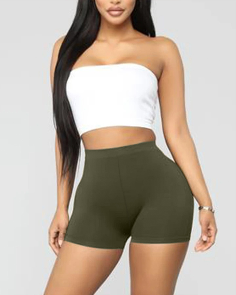 Solid Ribbed High Waist Shorts gallery 11