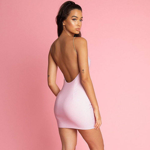 Pearl Twisted Strap Backless Pink Mini Dress gallery 2