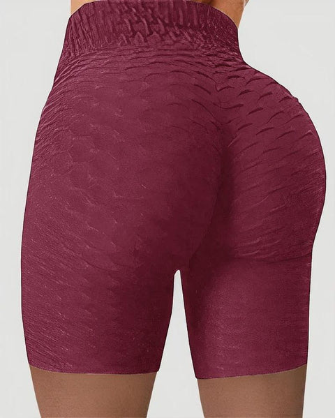 Solid Textured Wide Waistband Butt Lifting Sports Shorts gallery 9