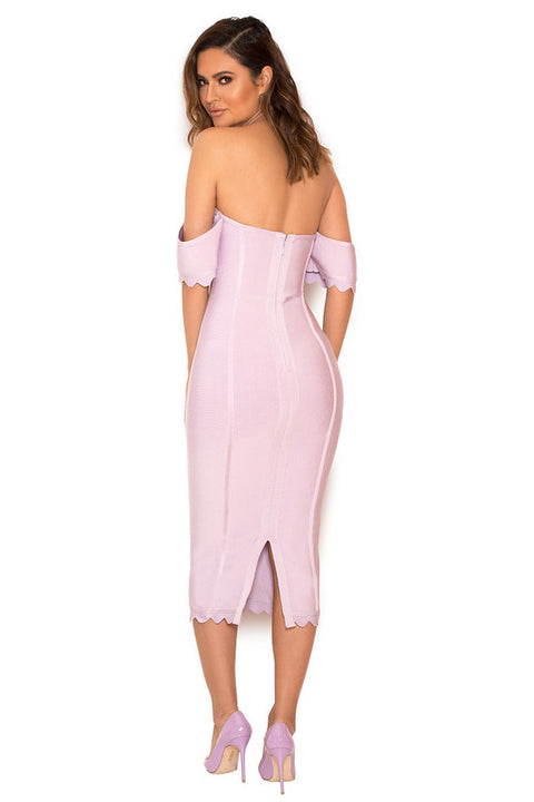 Sexy Square Neck Pale Pink Bandage Dress gallery 6