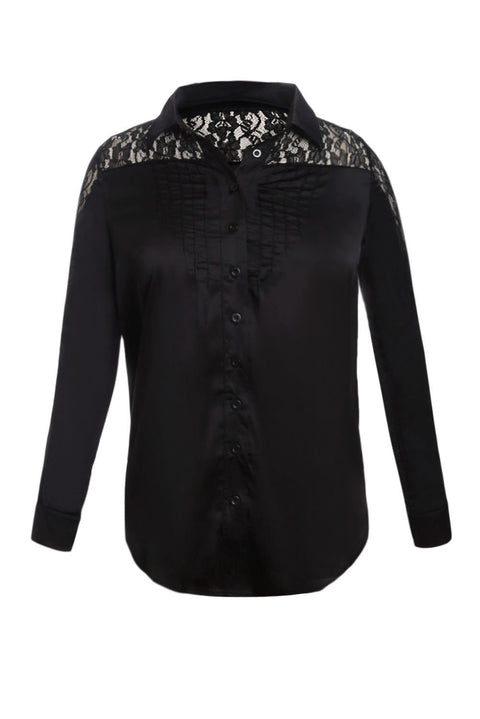 Black Lace Splice Long Sleeve Button Down Shirt gallery 3