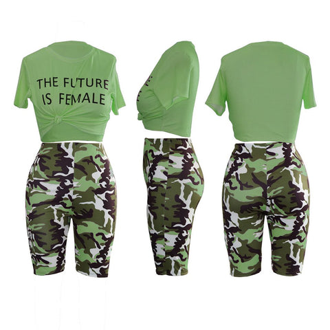 Camo Letter Print Knot Front Top & Short Set gallery 12