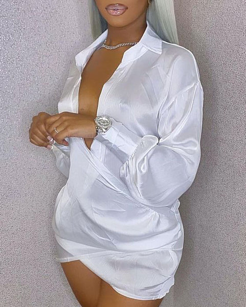 Solid Satin Wrap Over Mini Dress gallery 5