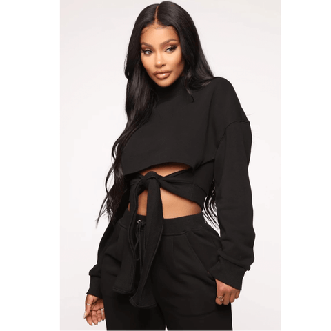 Chic High Neck Cut Out Front Tied Top & Pants Set