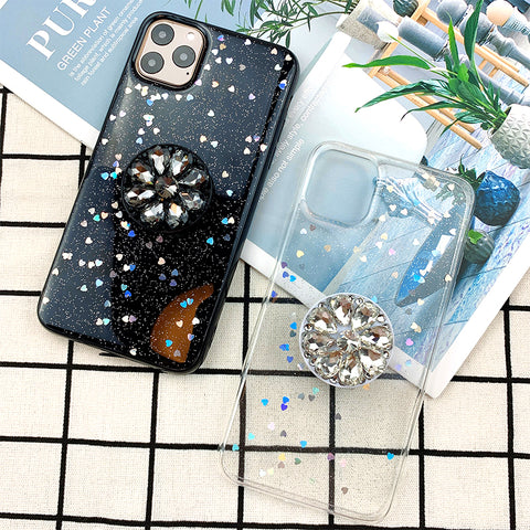 Glitter Stars Starry Night iPhone Case with Phone Holder and Hand Strap