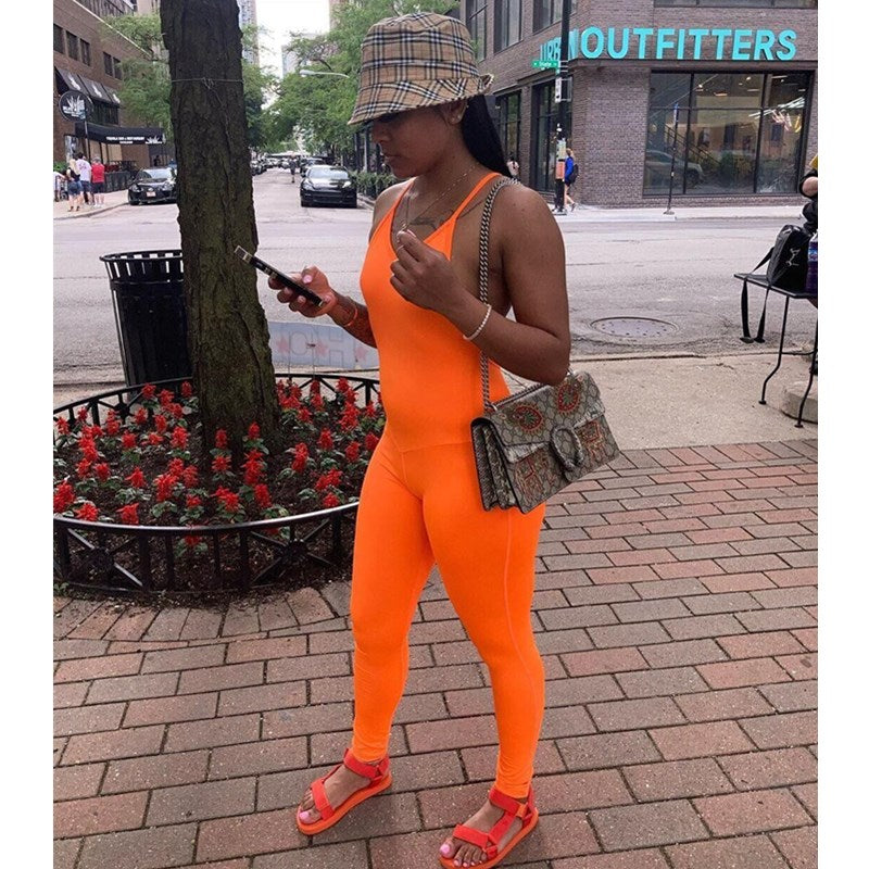 Solid Color Sleeveless Backless Jumpsuit