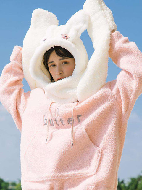 Women's Winter Rabbit Ear Fluffy Hat, Scarf, and Gloves Come in Three Pieces gallery 8