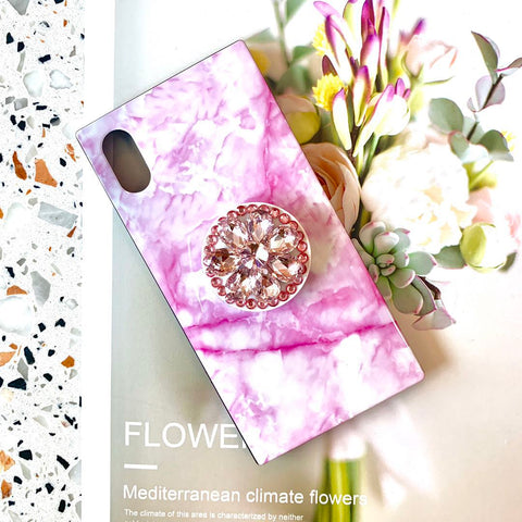 Pink Marble Printed Phone Case For All iPhone with Phone Stand
