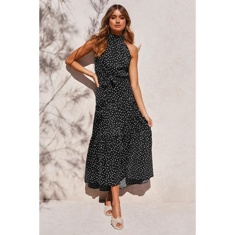 Polka Dot Print Sleeveless Frill Maxi Dress
