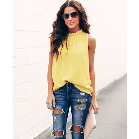Frill Neck Ruched Detail Sleeveless T-Shirt