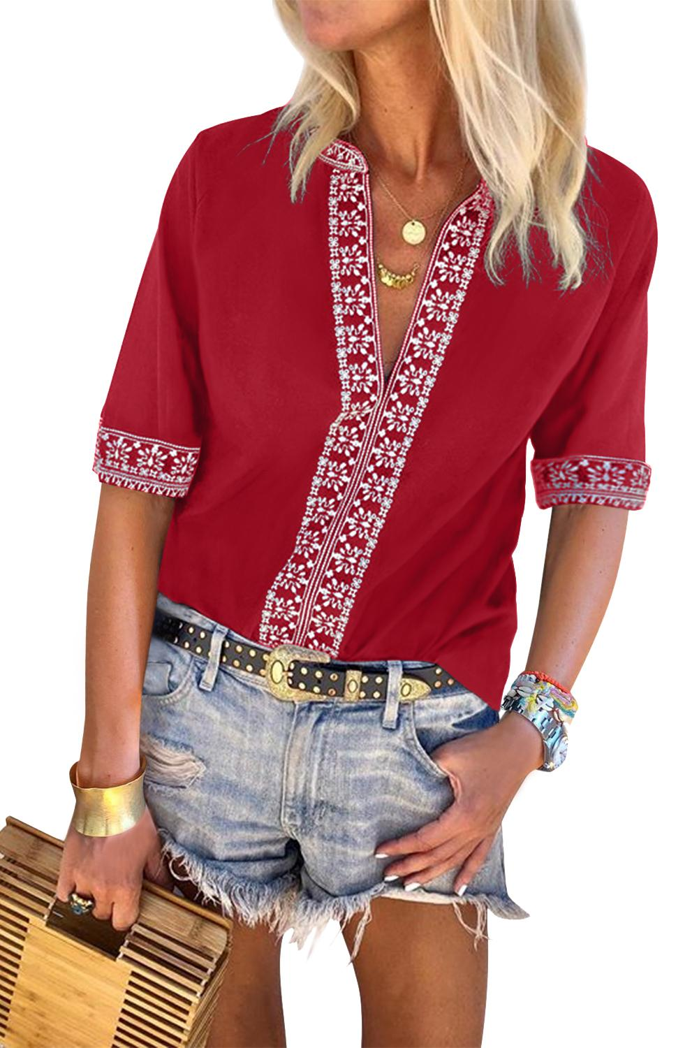 Red Chic Boho V Neckline Half Sleeve Blouse