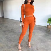 Round Neck High Waist Cropped Bodycon Knitted Top & Pants Set