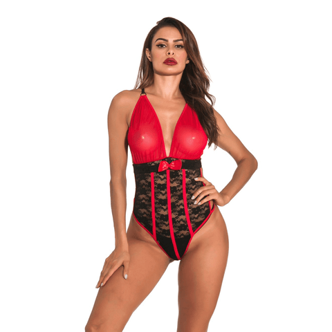 Lace Pattern Strap Bowknot Front Teddy Lingerie