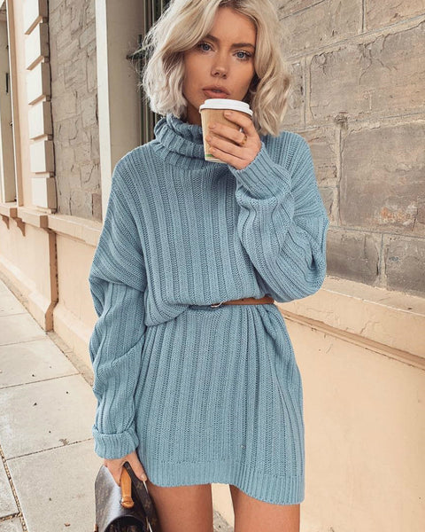 Split Hem High Neck Ribbed Knit Sweater Dress