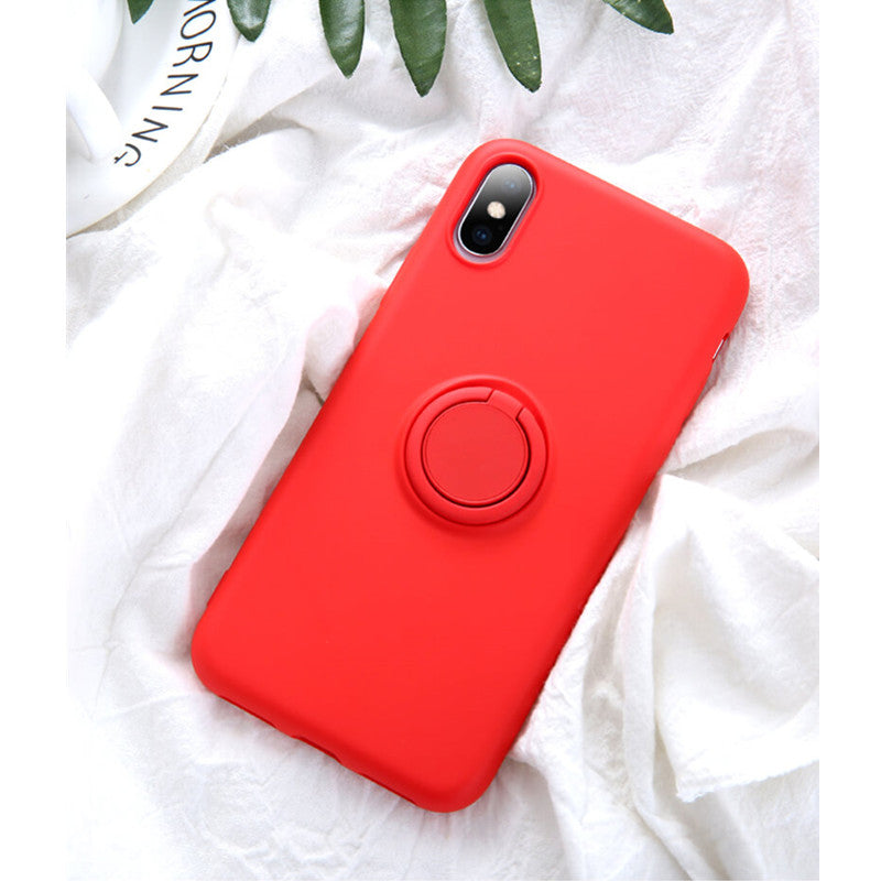 Red Soft Liquid Silicone iPhone Case with Phone Holder