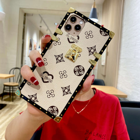 Luxury Leather Floral Pattern Rivet Edge Square iPhone Case