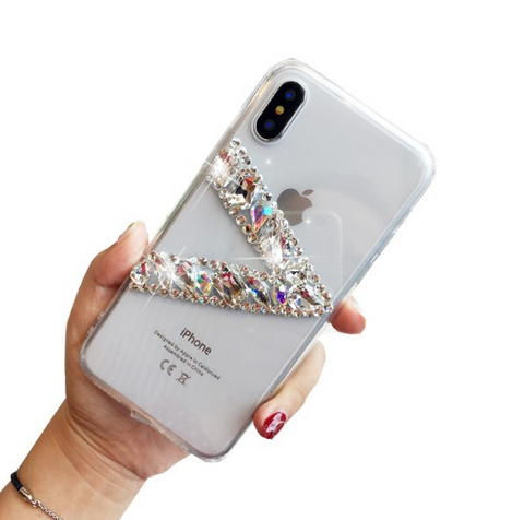 Clear Transparent V Rhinestone Deco Phone Case for Samsung gallery 6