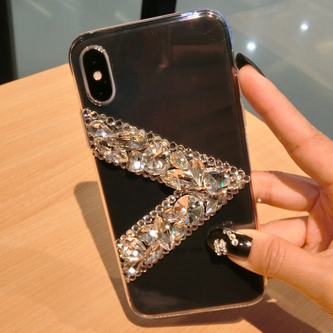 Clear Transparent V Rhinestone Deco Phone Case for Samsung gallery 3